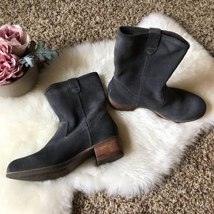 NWOT Ugg Rohen Gray Suede Heeled Boots